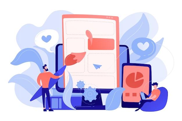 スマートフォンや液晶画面にウェブページの要素を描く人。フロントエンド開発それのコンセプト。ソフトウェア開発プロセス。ピンクがかったコーラルブルーのパレット。ベクトルイラスト