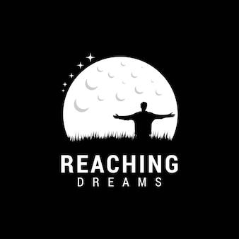 Люди мечтают в ночном логотипе