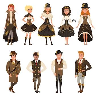 역사적인 갈색 옷을 입은 사람들