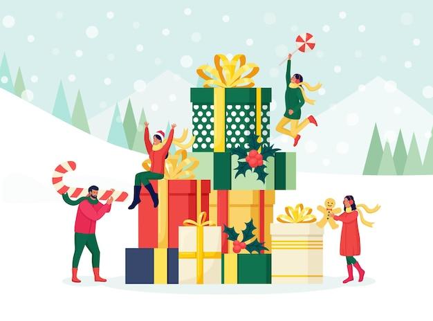 크리스마스 휴가를 위해 쇼핑하는 겨울 옷을 입은 사람들. 크리스마스 판매 개념입니다. 여자와 남자는 선물 상자를 포장, 준비 및 제공합니다. 축하 크리스마스, 새해의 기대
