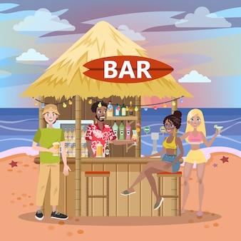 사람들은 해변 바에서 칵테일을 마신다. 바다 또는 바다에서 여름 낙원. 열대 쪽에서 휴가. 삽화