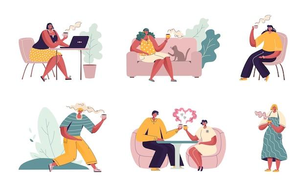 사람들은 커피를 마 십니다. 카페에 앉아 만화 캐릭터, 커플 친구와 노트북 및 휴대 전화를 가진 사람들.