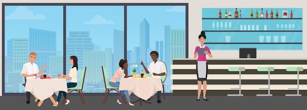 사람들은 카페에서 커피나 차를 마신다. 젊은 남자 여자는 커피 컵 동안 채팅을 한다