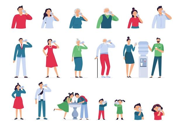 사람들은 물을 마신다. 어린이와 노인을위한 병, 유리 및 쿨러의 식수, 성인 남성과 여성은 건강한 라이프 스타일 세트를 마신다.