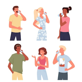 People drink water vector illustration set. cartoon young man woman characters standing and drinking refreshing beverage or pure clean water from glass or bottle, hydration energy isolated on white