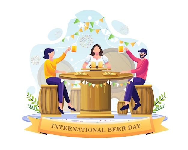 People drinking beer in a bar to celebrate international beer day illustration
