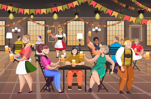 People drinking beer in pub oktoberfest party celebration concept mix race men women having fun horizontal full length vector illustration