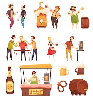 People drinking beer set