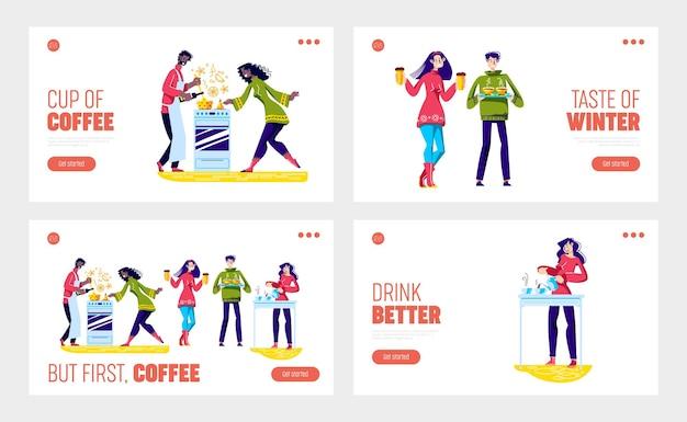 만화 캐릭터와 함께 커피와 뜨거운 음료를 마시는 사람들은 맛있는 음료를 즐기고 준비합니다.