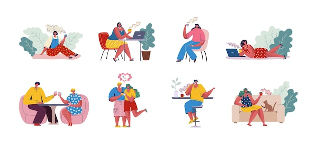 コーヒーを飲む人。テーブルに座って通信するトレンディな漫画のキャラクター