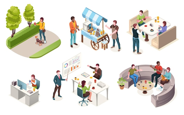 People drinking coffee vector isometric icons