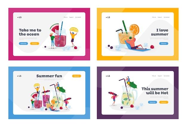 冷たい飲み物を飲む人ランディングページテンプレートセット。小さなキャラクターは夏にさまざまな飲み物を選びます。ジュースの水にストロー、フルーツ、角氷が入った巨大なガラスカップ。漫画
