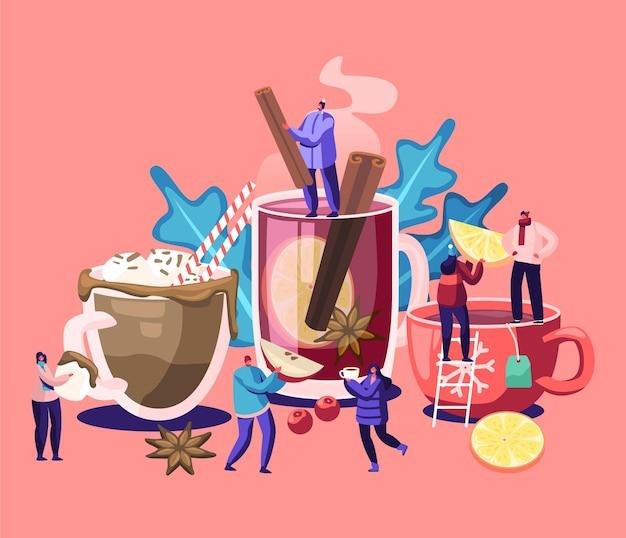 뜨거운 음료를 마시는 사람들. 남성과 여성 캐릭터는 추운 가을과 겨울에 다른 음료를 선택합니다. 밀짚, 레몬 슬라이스, 바닐라 스틱 만화 평면 벡터 일러스트와 함께 차 컵