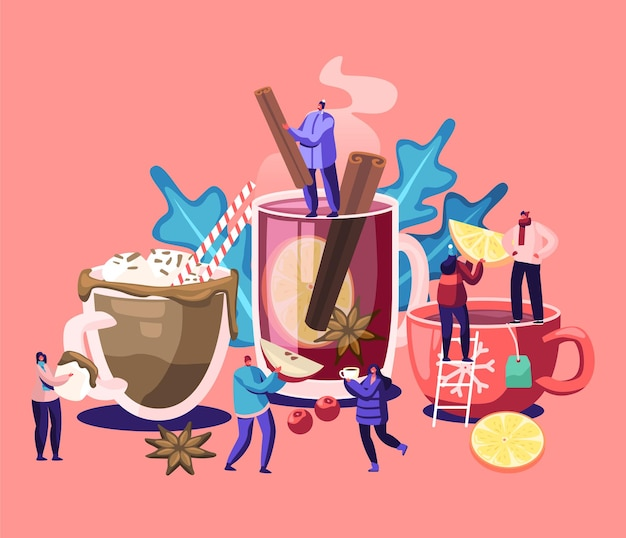 People drinking hot drinks. male and female characters choose different beverages in cold autumn and winter time. tea cups with straw, lemon slices, vanilla sticks cartoon flat vector illustration