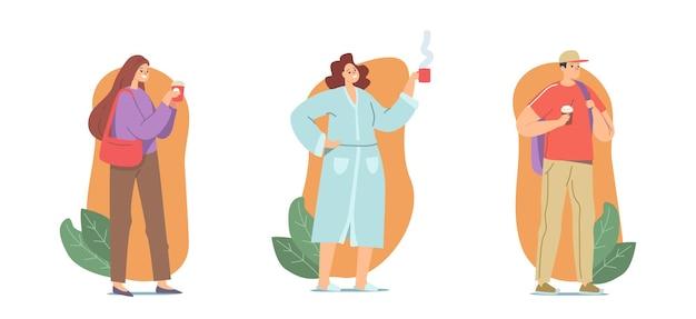 Люди пьют утренний кофе или горячий напиток в одноразовой картонной чашке на вынос. персонажи мужского и женского пола отдых, кофе-брейк сотрудников в офисе, студент, домохозяйка. векторные иллюстрации шаржа