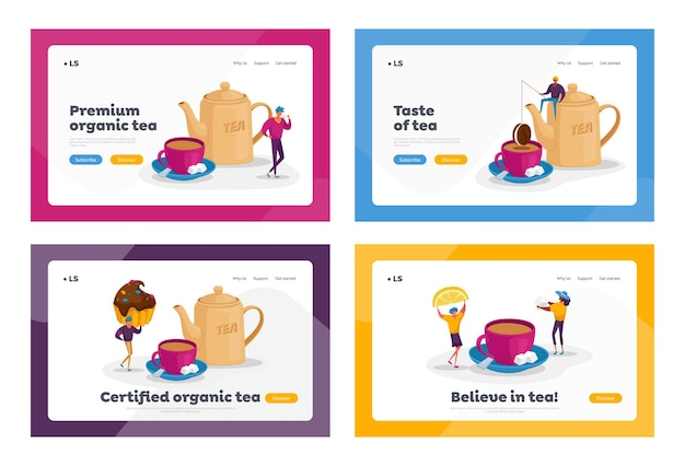 People drinking tea, hot drink party landing page template set