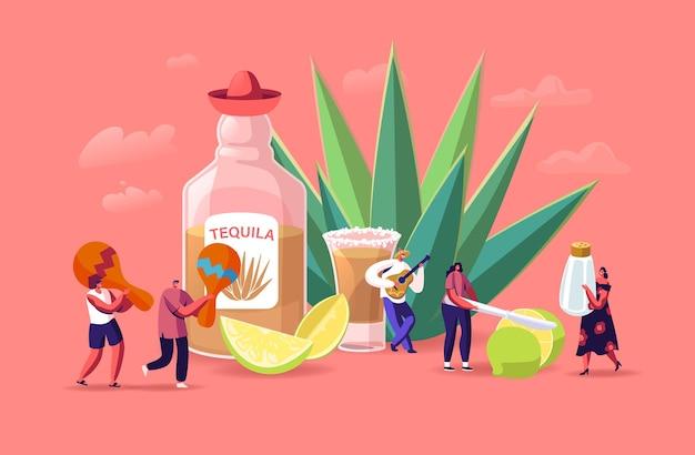 Люди пьют текилу иллюстрации.