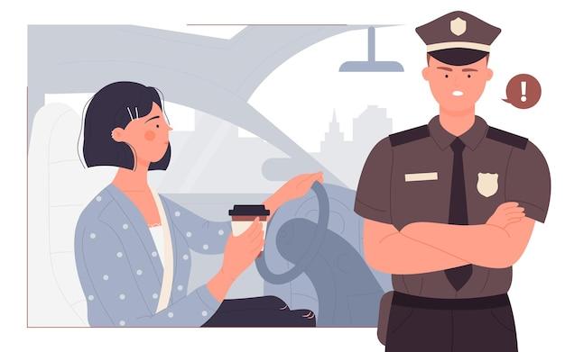 若い女性と警官と一緒に運転している間、人々は飲み物のコーヒー事故の危険を運転します