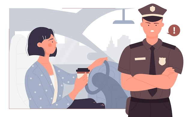 People drive drink coffee accident danger while driving with young woman and policeman
