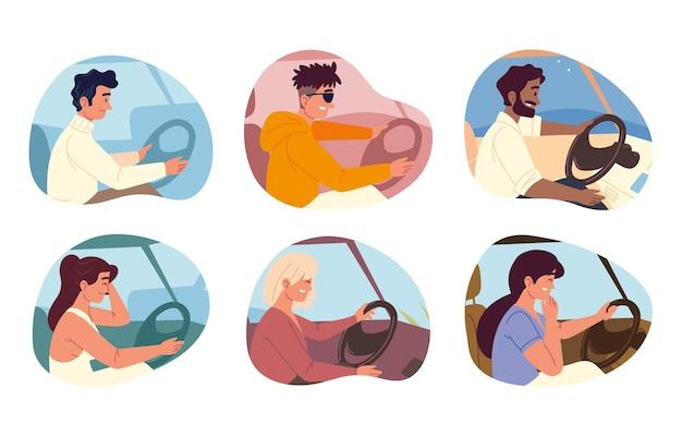 차를 운전하는 사람들