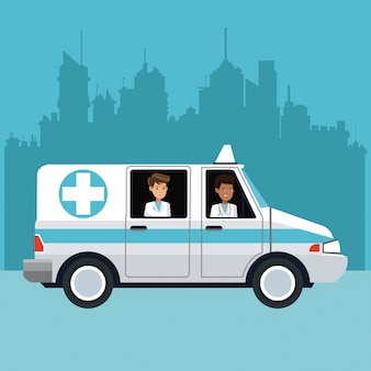 구급차 도시를 운전하는 사람들