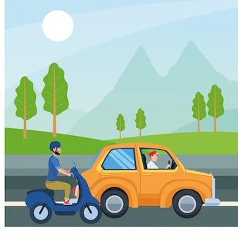 Люди за рулем автомобиля и мотоцикла вектор дизайн