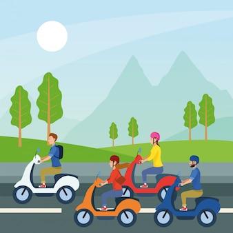 Люди за рулем мотоцикла дизайн вектор