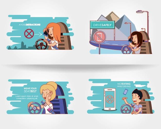 Люди вождения с водителем безопасно иконки