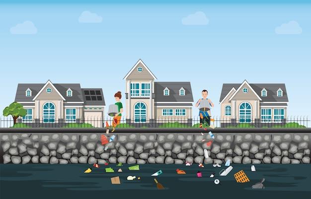 ゴミを川に投棄する人々