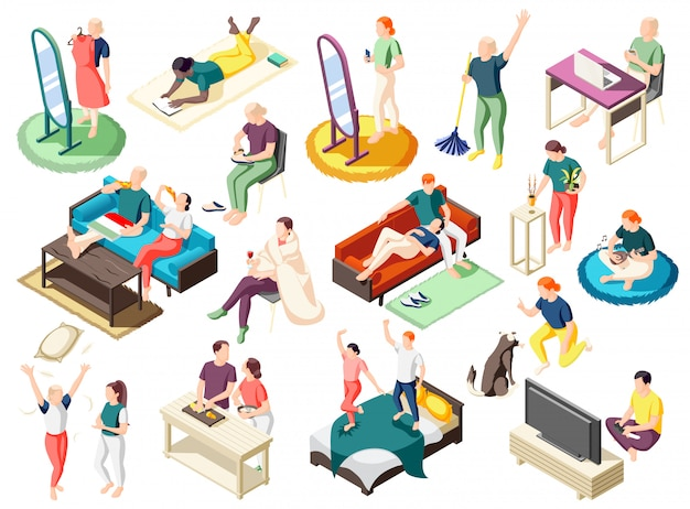 People during various activity at home on weekend set of isometric icons isolated