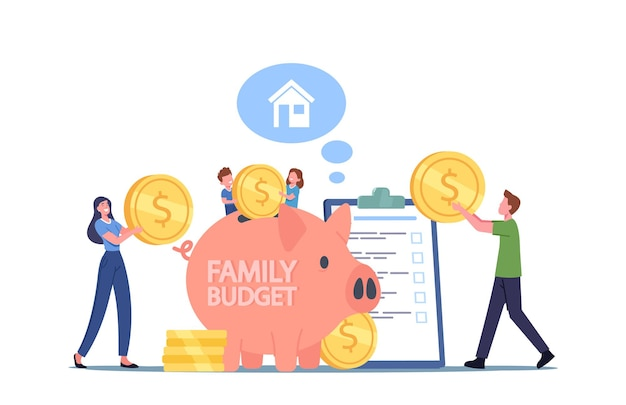 People earn and save money, universal basic income, capital, wealth, family budget savings concept. tiny male and female characters collect coins into huge piggy bank. cartoon vector illustration