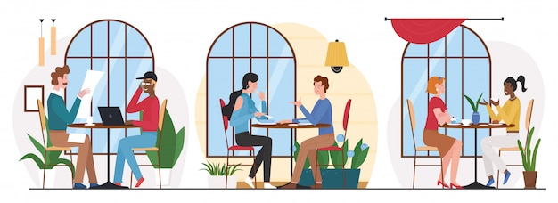 People eat in cafe   illustration. cartoon friend characters group eating lunch or dinner in cafeteria or food court interior, meeting for business or friendly conversation  on white