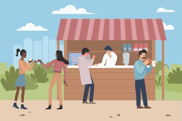 人々は露店、菓子市場のキオスクからデザート食品を食べます
