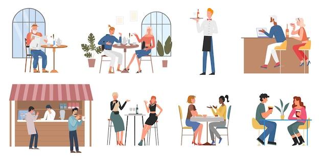 Люди едят еду пить кофе набор пара или друзей, сидя в кафе-баре ресторана