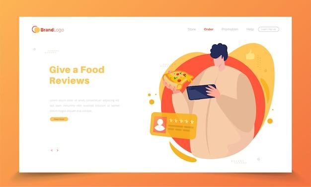 사람들은 피자를 먹고 방문 페이지 개념에 대한 평가를 제공합니다.