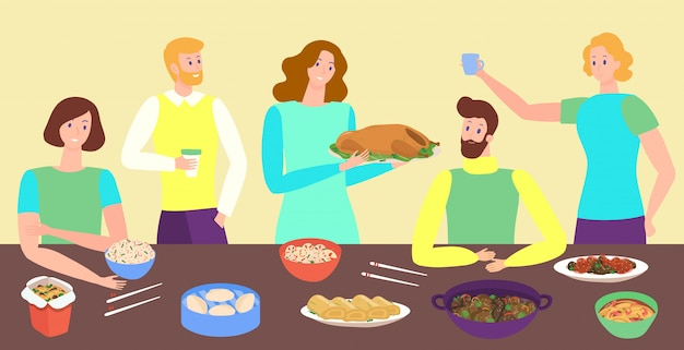 People eating asian food together, friends cartoon characters, thanksgiving  illustration
