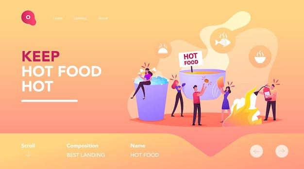 ランディングページテンプレートのコンセプトを食べる人々。ホットフードと巨大なボウルで小さなキャラクター、スパイシーな食事でアイスブローとカップに座っている女性。消火器を持つ男。漫画のベクトル図