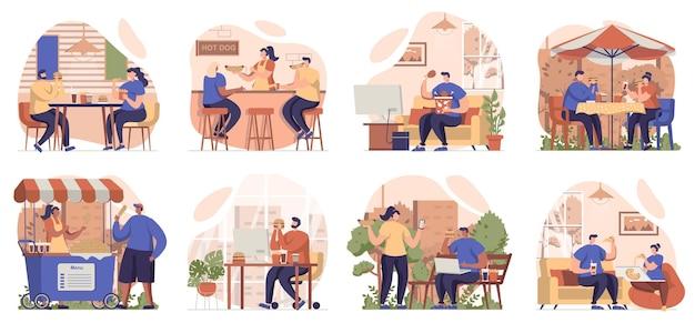 거리 카페와 레스토랑에서 고립 된 장면의 패스트 푸드 컬렉션을 먹는 사람들