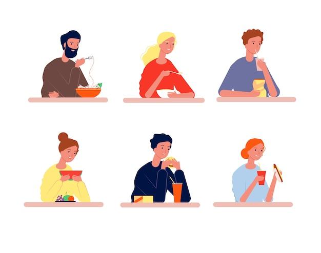 食べる人。平らな写真を食べているさまざまな食品の人と空腹のキャラクター。食べたり飲んだりする男、食べ物のイラストとテーブルに座っている人々
