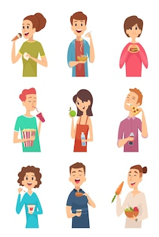 People eating. hungry persons with different foods and drinks cake spaghetti fruits hotdog burger vector pictures. illustration hungry people eat food