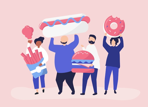 Люди едят нездоровую пищу