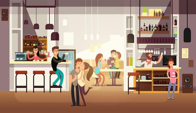 카페 바 인테리어에서 점심을 먹는 사람들. 플랫