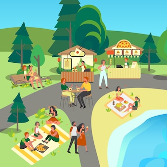 公園でストリートやファーストフードを食べる人。ピザとライスヌードルバー。屋外でおやつを食べている人、公園のピクニック。