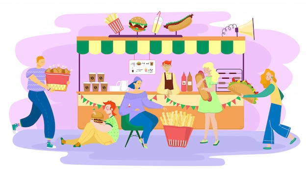 People eating street food, men and women cartoon characters in bistro,  illustration