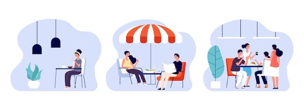 먹는 사람. 여자 남자는 다른 장소에서 점심, 아침 또는 저녁 식사를합니다. 카페, 레스토랑 및 사무실 식당. 데이트 및 회의 벡터 일러스트 레이 션. 카페 또는 카페테리아에서 아침 식사