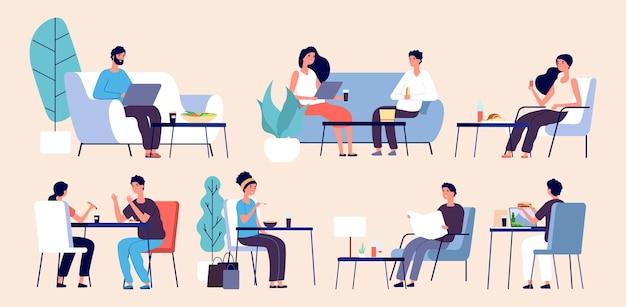 먹는 사람. 여성 남성은 음식으로 휴식을 취합니다. 레스토랑, 카페, 푸드 코트에서 평평한 사람들. 사람들과 레스토랑 테이블 그림에 앉아