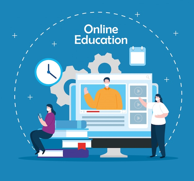 People in education online with computer illustration design