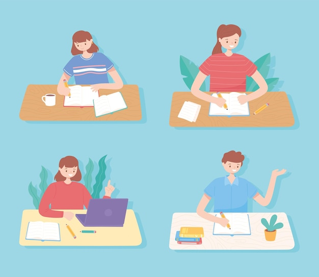 Образование людей, студенты читают и изучают образование иллюстрации