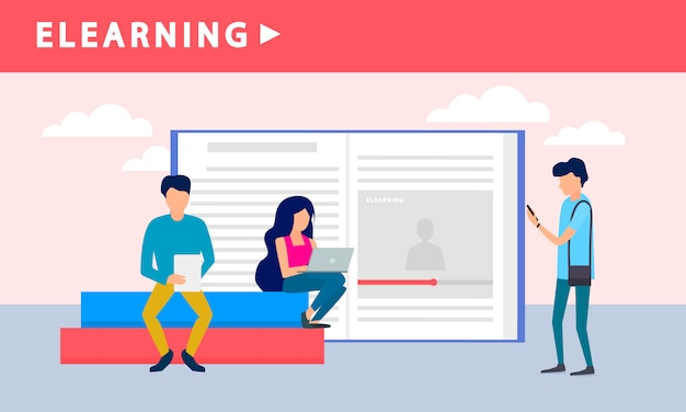 People elearning banner, flat style