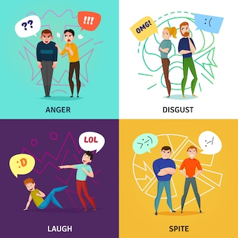 People and emotions concept set with laugh and anger